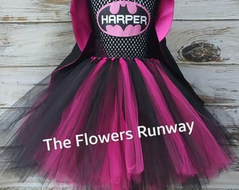 Personalized Batgirl Tutu Dress in Pink with matching cape and mask. All included in price.