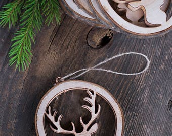 Christmas ornaments, rustic wood Christmas tree decorations, Wood antlers, Handmade rustic Christmas gift, House decor, First Christmas
