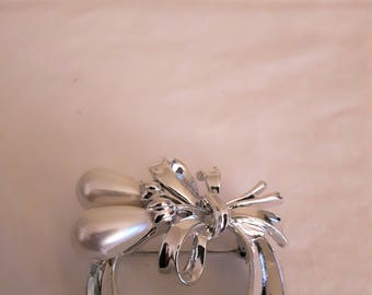 Vintage Coro Silver Tone with Faux Pearl Drops and Bow Tie - 1970s