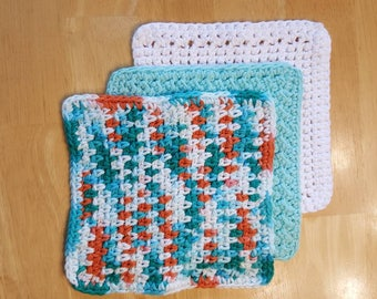 Colorful Crochet Dishcloths, Set of 3