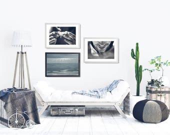 Black and White Beach Wall Art, Black and White Coastal Decor, Minimal Wall Art Set, Man Portrait Photo Decor Set, Coastal Living Room Art