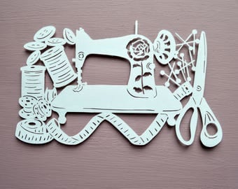 Sewing Papercut Template, Sewing Machine, Needle and Thread, Buttons, Pins