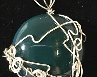Wire Wrapped Green Agate Gemstone Necklace