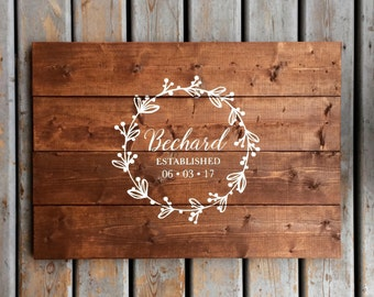 Rustic Wreath with Calligraphy Wood Guest Book | White on Wood | Custom Name