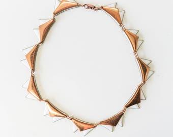 Vintage 60s, Geometric, Copper and Enamel Necklace