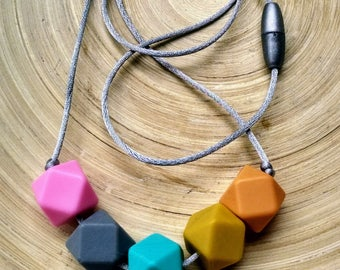 BPA free silicone necklace, teething necklace, basic style hexagon necklace, minimalist necklace, small necklace
