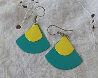 Teal and Yellow Metal Earrings