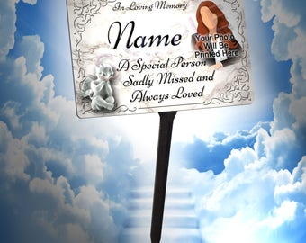 Your Photo Personalised Memorial Plaque & Stake. Waterproof, UV Protection.