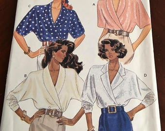 Butterick # 3514 Misses Loose Fitting Double Breasted Blouse Size 8, 10, 12