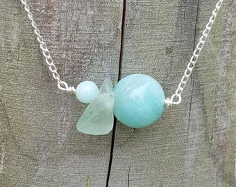 Genuine Aqua Sea Glass Necklace, Gemstone Necklace, Sterling Silver Chain, Sea Glass Necklace