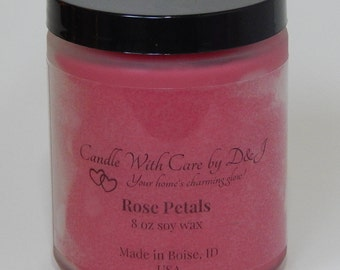 Soy Candle Rose Petals Scent - 8 oz Scented Candle, Frosted Glass Container, Wood Wick, Soy Wax, Hand Poured