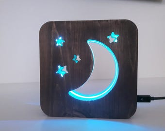 Wooden color changing led Moon night light