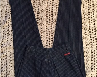 Women's High Waist Pin Stripe Cropped jeans Rare Vintage 80's Cristina's Jeans