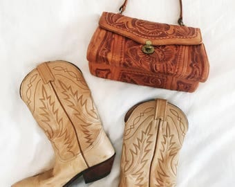 Vintage 1990's NOCONA Tan Genuine Leather Cowboy Boots Women's Size 8 - 8.5 Cowgirl Western Style Topstitching Made in US Hippie Boho Gypsy