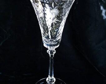 4 Vintage Floral Etched Crystal Flutes