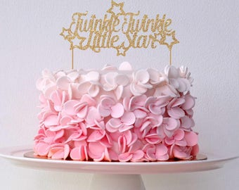 Twinkle Twinkle Little Star Cake Topper for Baby Shower, Gender Reveal Party, Birthday Party - Gold Glitter Topper, Newborn Little One