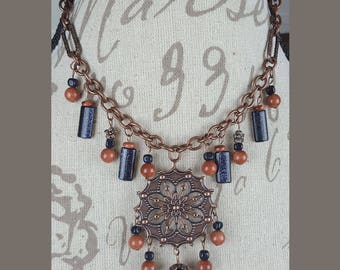 Wild Wild West Copper Kaleidoscope Necklace and Earrings set - pendant, goldstone, gold, flower, flowers, blue, stamped