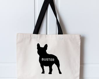 French Bulldog Tote Bag | Personalised BullDogTote Bag | Frenchie Dog Bag | Custom Name Bag | Dog Shopping Bag | Tote Bag | French Bulldog