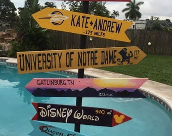 Destination Signs with patio stand, Family vacation places, Beach house art, Directional pole, Cruise port, Custom mileage sign, mile marker