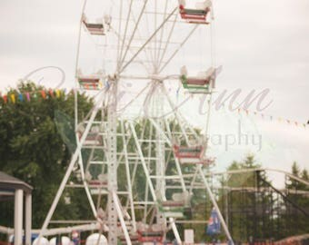 Film Ferris Wheel Digital Photography Backdrop Background Blurred Ride Carnival Fair Red White Blue