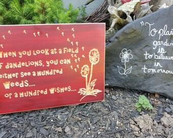 Weeds or Wishes plaque, dandelion, flowers, Field of Dandelions plaque, wall art, wall hanging