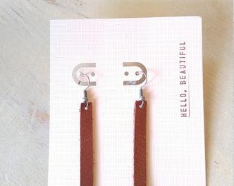 Slim Leather Bar Minimalist Earrings