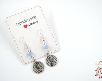 Silver sea horse earrings | sea horse earrings, bohemian, minimalist earrings, gift for her, ocean, gift, mermaid, sea, boho, beach, ibiza