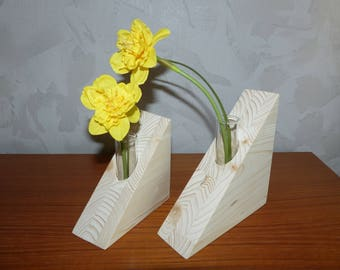 Decoration, gift, Set of 2 pcs. wooden flower vase with a test glass, handcrafted, spruce wood,