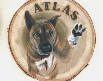 Pet Painting on Wooden Slice