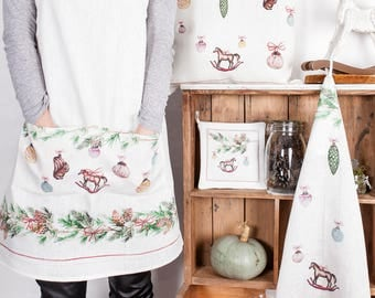 Christmas Apron - Christmas decorations - 100% linen - hand made - holiday gifts - made in Lithuania