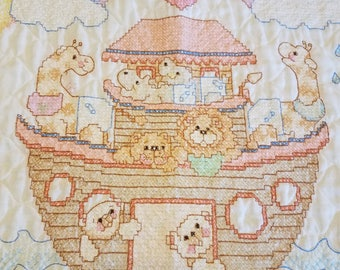 Cross Stitched Baby Quilt Noahs Ark Hand Made Finished