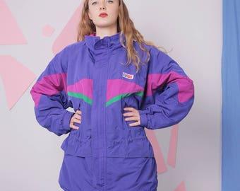 color block jacket size XL, SWIX vintage ski jacket, winter warm colorful jacket, blue 80s 90s jacket, skiing jacket, vintage sportswear