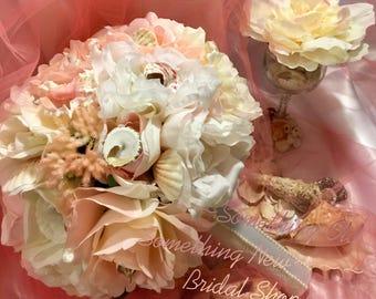 Blush Beach Bouquet with Seashells