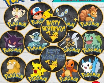 Pokemon Birthday Cupcake Toppers,Pokemon Cupcake Toppers, Birthday Party Cupcake Toppers,Pokemon Party,  Pet Shop Stickers, instant download