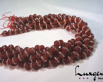 Red Agate beads - Agate with Rhinestones - 8mm, 10mm - high quality natural gemstones - Manufacture offers - A0066/A0067