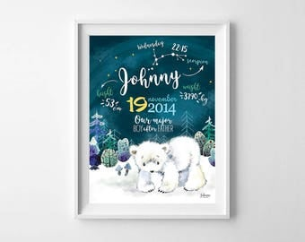 Birth Stats Print Nursery Wall Art Printable Print Birth Announcement, Personalized Baby Birth Stats, Baby Shower Gift