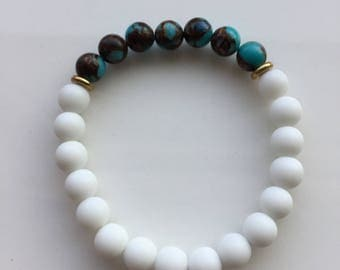 White and Blue/Brown Bracelet
