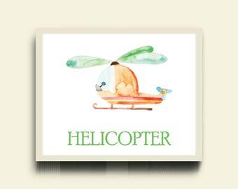 Helicopter Nursery Print / Boy Air Nursery Print / Transport Print / Helicopter Print / Watercolor Nursery Boy Poster / Helicopter Kid Print