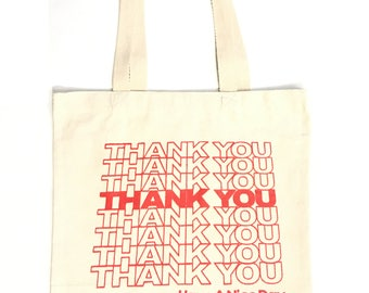 Heavyweight Thank You Tote bag Canvas Bag Shopping bag Grocery Bag