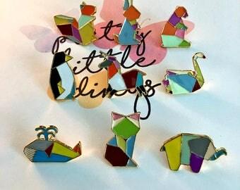Origami animal pins enamel