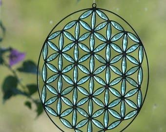 Flower of life mandala boho decor sacred geometry yoga decoration turquoise