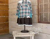 Flannel Shirt - Tunic  - Boho Clothing - Upcycled - Womens A- Line Style - Jacket , Grey and Turquoise plaid embroidered Flowers