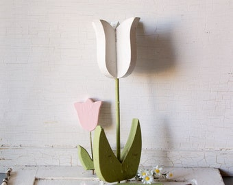 3 Vintage Wood Garden Art Tulips - Pink and White -