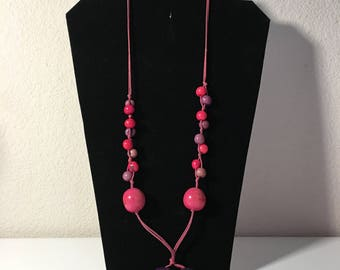 Pink and Purple Beaded Necklace