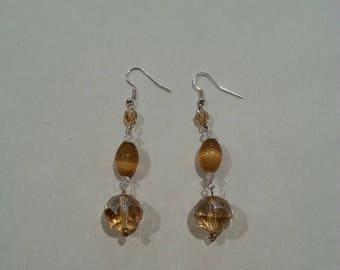Gold Glass Bead Earrings With Swaroski Crystals