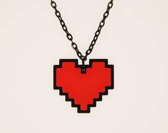 Undertale Cosplay Necklace Digital 8 Bit Pixel Heart Zelda Heart Container
