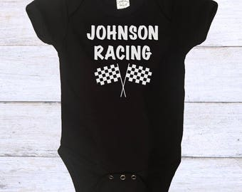 Personalized Racing Onesie with Name - Baby Racing Onesie - Custom Favorite Driver Onesie - Racing Fans - BMX - Motocross - Race Fan Onesie