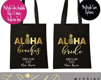 Aloha Beaches Tote Bridal Party Totes,Bridal Tote Bags,Bride Bag,Wedding,Bridsmaids Totes,Maid of Honor Tote,Bridesmaid Tote Bag
