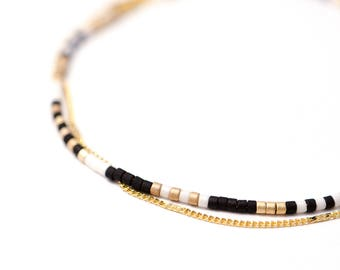 Multistrand Layering Beaded Wrap Bracelet Δ Delicate Gold Chain Bracelet Δ Simple Everyday Bracelet Δ Friendship Bracelet