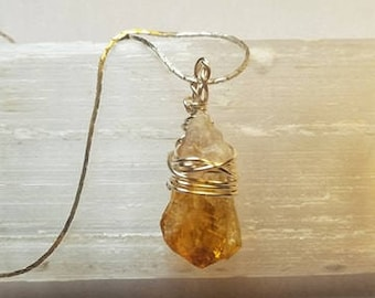 Citrine Necklace Wire Wrapped Citrine Necklace Wire Wrapped Citrine Crystal Necklace Citrine Pendant Citrine Crystal